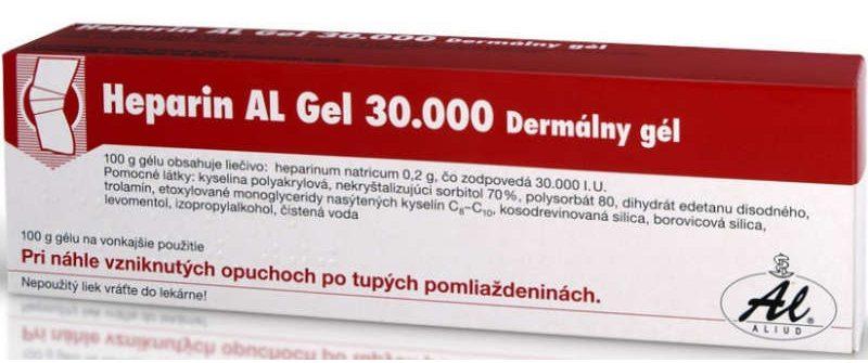 Heparin AL Gel 30.000: cena, účinky, použitie a skúsenosti