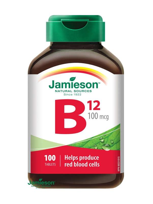 Jamieson Vitamín B12 Metylkobalamín 100 µg: cena a účinky